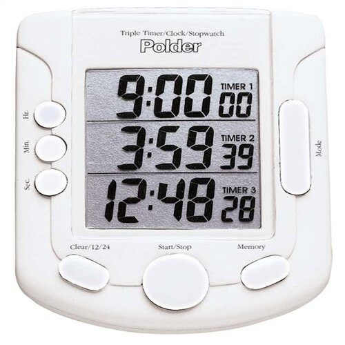 Polder Triple Digital Kitchen Timer/Clock