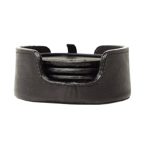 Piel Leather 5 Piece Coaster Set