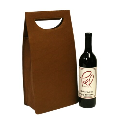 Piel Leather Double Wine Carrier in Saddle