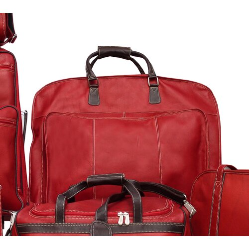 Blushing Red Leather Slim Garment Bag