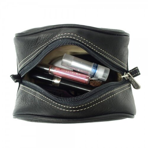 Piel Leather Blushing Red Collection Cosmetic Bag