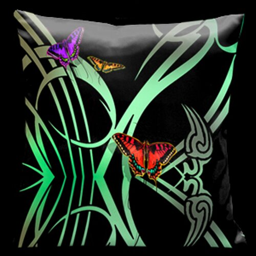 Lama Kasso Butterflies and Beauty Square Satin Pillow