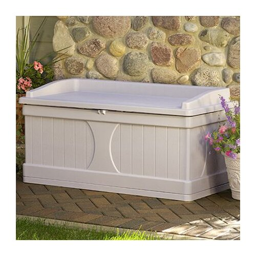Suncast Resin 99 Gallon Deck Box with Seat