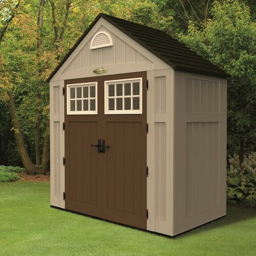 Alpine 7 5 ft w x 3 5 ft d resin storage shed wayfair for Garden shed 7 x 3