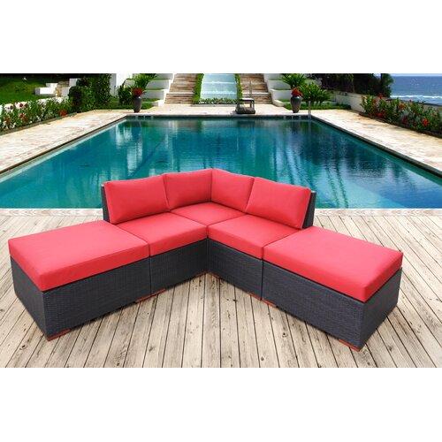 Pasadina Corner Sectional 5 Piece Deep Seating Group with Cushions