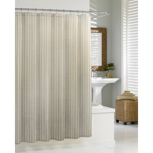 Kassatex Fine Linens Cortina Linen Chevron Cotton Shower Curtain