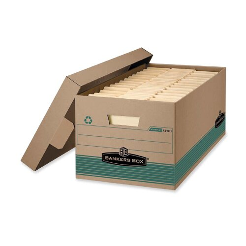 Bankers Box® 100% Recycled Storage Box, 10w x 24d x 12h, Letter Size, Lift-Off Lid, Kft/Green
