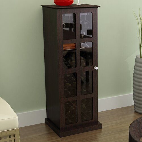 Wine Cabinet Furniture Elegant Estate Espresso Wood Glass Metal Storage Shelves Ebay