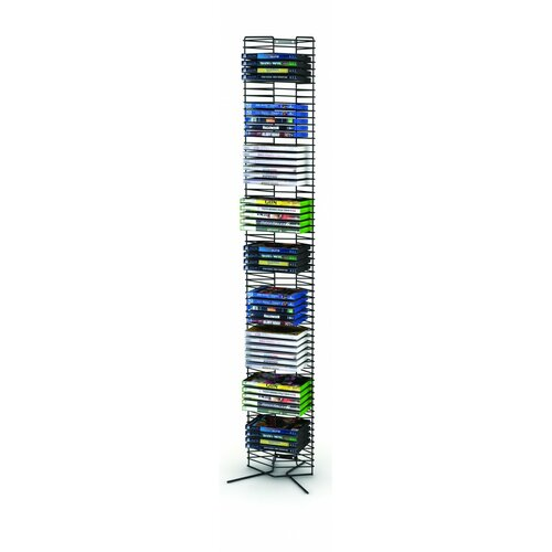 65 DVD Tower, Matte Black Steel