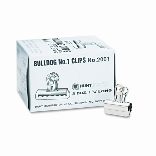 "Boston® Bulldog Clips, Steel, 7/16"" Capacity, 1-1/4""w, Nickel-Plated, 36/box"