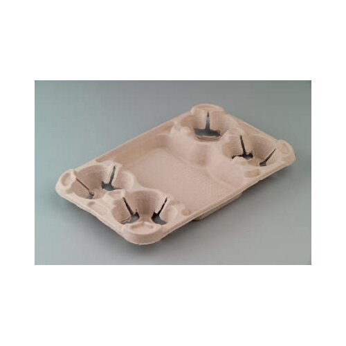 Chinet StrongHolder Molded Fiber 4-Cup Carrier with Food Tray