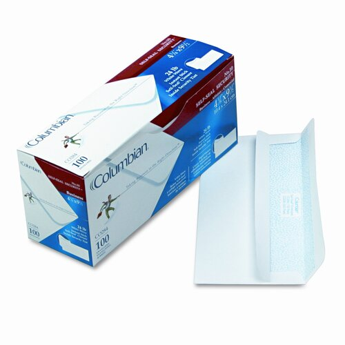 Columbian Envelope Self-Seal Business Envelopes w/Privacy Tint; #10, White, 100/box
