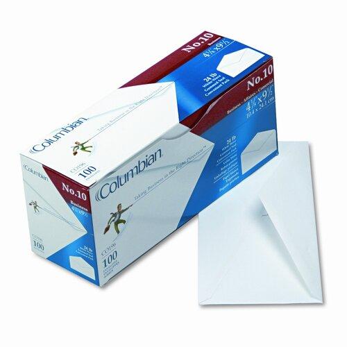Columbian Envelope Gummed Flap Business Envelope, V-Flap, #10, White, 100/box