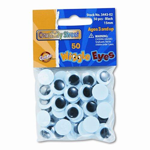 Creativity Street® Round Black Wiggle Eyes, 15mm, 50 Pieces per Pack