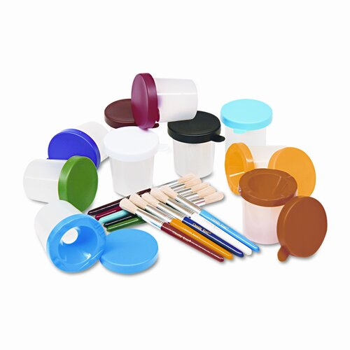Creativity Street® No-Spill Cups and Coordinating Brushes, Assorted Colors, 10