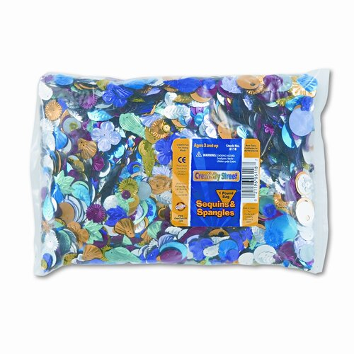 Creativity Street® Sequins & Spangles Classroom Pack, Assorted Metallic Colors/Shapes/Sizes, 1-lb.