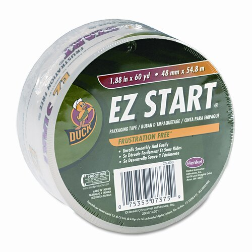 "Duck® EZ Start Carton Sealing Tape, 1-7/8"" x 22 Yards, 3"" Core, Clear"