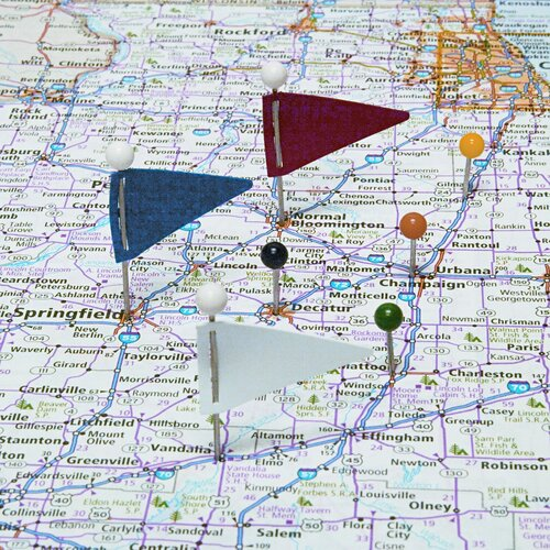 "Gem Office Products, LLC. Plastic Head Triangular Map Flags, Steel 1"" Point, Assorted Colors, 75 per Box"