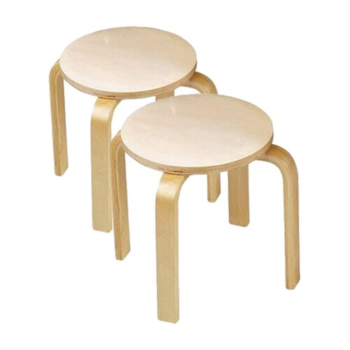 Wooden Sitting Kid's Stool (Set of 2)