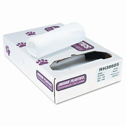Jaguar Plastics® Super Extra-Heavy Bags, 60 Gal, 16 Mic, 38 X 60, 8 Rolls Of 25 Bags, 200/Carton