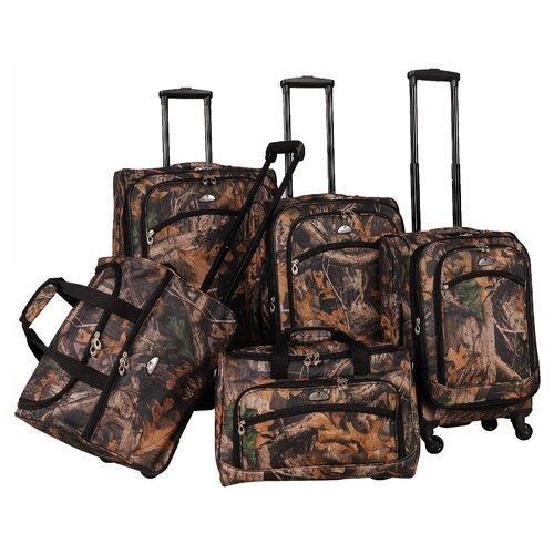 Camo Green 5 Piece Luggage Set