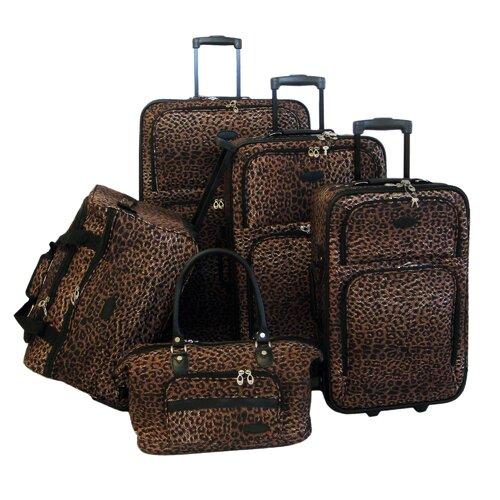 Animal Print 5 Piece Luggage Set
