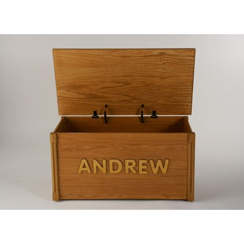 Personalized Wooden Toy Box with Vegabond Script