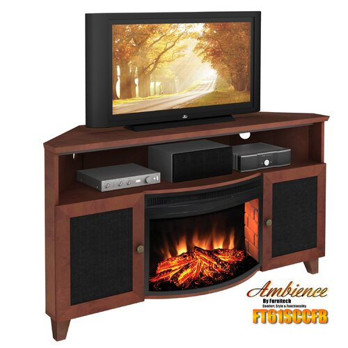 "Furnitech Shaker Style Corner 61"" TV Stand with Curved Electric Fireplace"