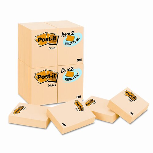Post-it® Original Note Pad,  24 90-Sheet Pads/Pack