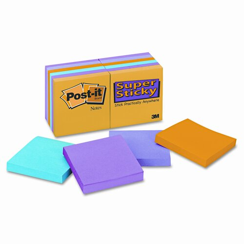 Post-it® Super Sticky Notes Pad, 12 90-Sheet Pads/Pack