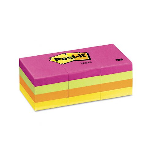 Post-it® 1-1/2 x 2, Four Neon Colors,12 100-Sheet pads/pack