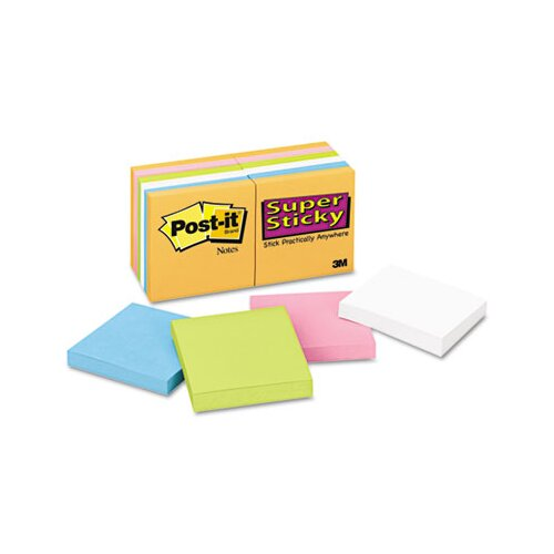 Post-it® Super Sticky Notes, 3 x 3, Five Neon Colors, 12 90-Sheet Pads/pack