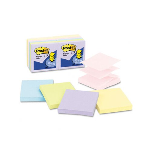 Post-it® Pop-Up Note Refills, 3 x 3, Five Pastel Colors, 12 100-Sheet Pads/Pck