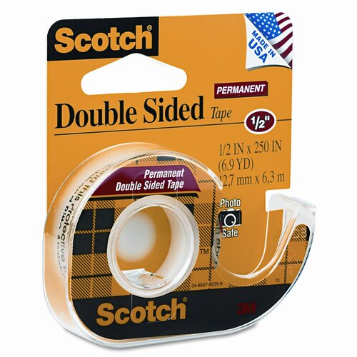 "Scotch® 665 Double-Sided Office Tape with Hand Dispenser, 1/2"" X 250"""