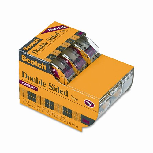 "3M 665 Double-Sided Office Tape in Hand Dispenser, 1/2"" x 7 Yards, Three/Box"