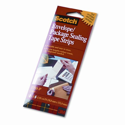 Scotch® Envelope/Package Sealing Tape Strips, 50/Pack