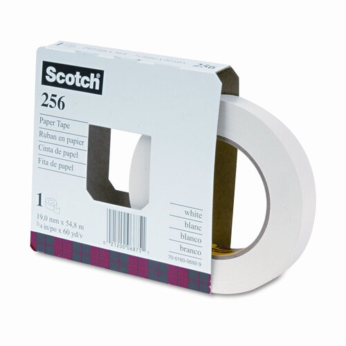 "3M 256 Printable Flatback Paper Tape, 3/4"" x 20 Yards, 3"" Core, 48 per Box"