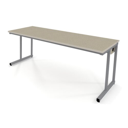 Fleetwood Wide Computer Table with Flip-Top Wire Management and Adjustable Height