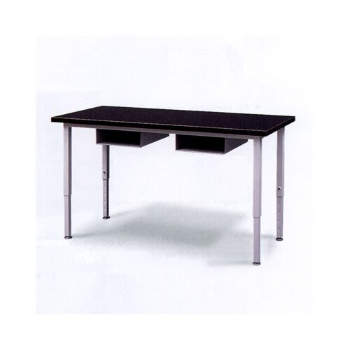 Fleetwood Adjustable Height Steel Frame Science Table with Black Epoxy Resin Top and Book Storage