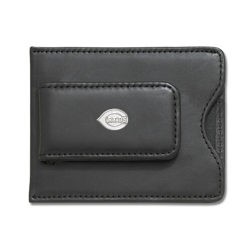 LogoArt® MLB Logo Black Leather Money Clip / Credit Card Holder