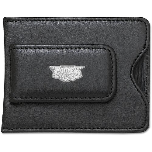 NFL Logo Black Leather Money Clip / Credit Card Holder
