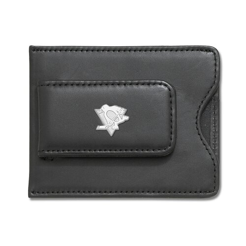 LogoArt® NHL Logo Black Leather Money Clip / Credit Card / ID Holder