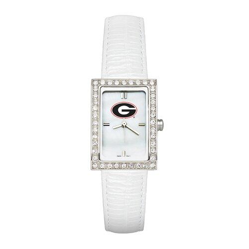 LogoArt® NCAA Ladies Fashion Watch with White Leather Strap