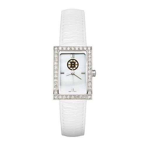 LogoArt® NHL Ladies Fashion Watch with White Leather Strap