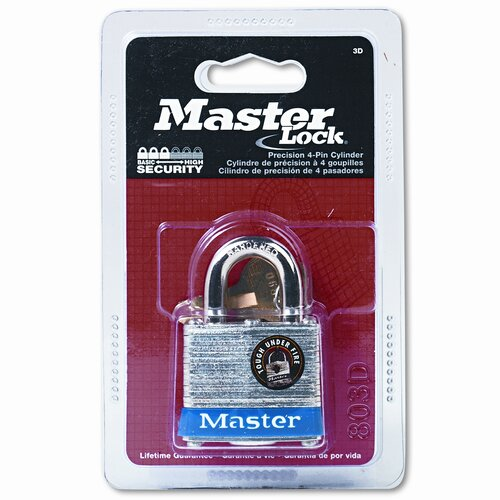 "Master Lock Company Four-Pin Tumbler Lock, Laminated Steel Body, 1-1/2"" Wide, Silver/Blue, Two Keys"