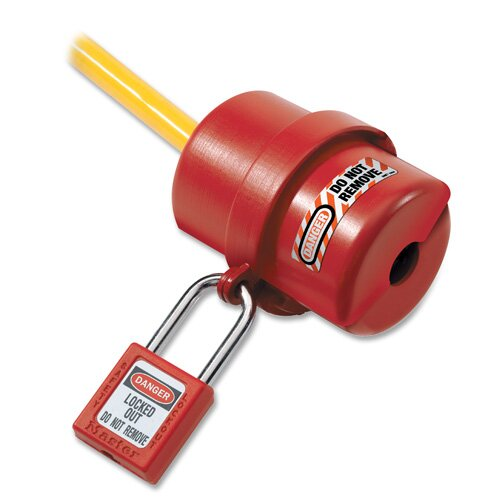 Master Lock Company Electrical Plug Lockout, Circular 240/120 Volt Plug, Red