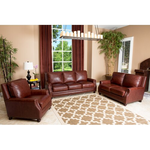 Bel Air 3 Piece Hand Rubbed Leather Sofa, Loveseat, and Armchair