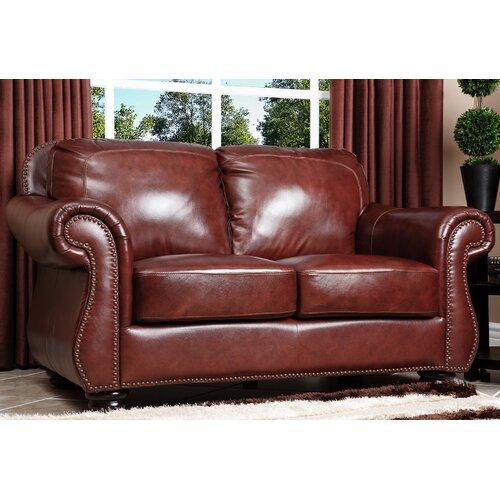 Abbyson Living Harbor Premium Leather Loveseat & Reviews