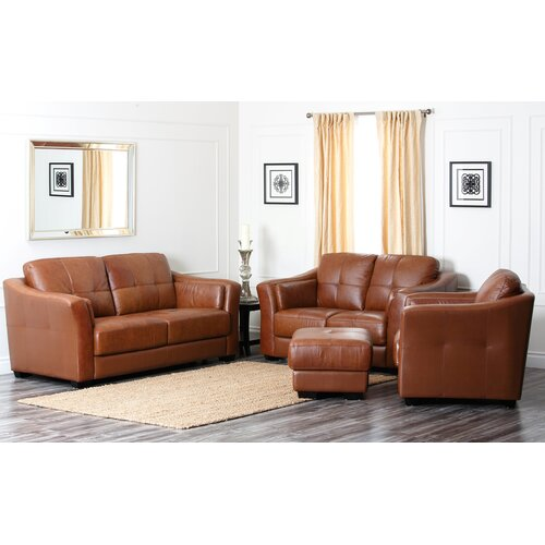 Sherwood Premium Leather Sofa, Loveseat, and Armchair Set