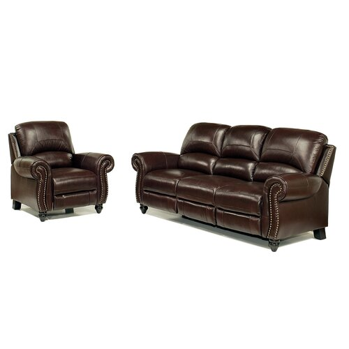 abbyson living charlotte leather reclining sofa and chair set